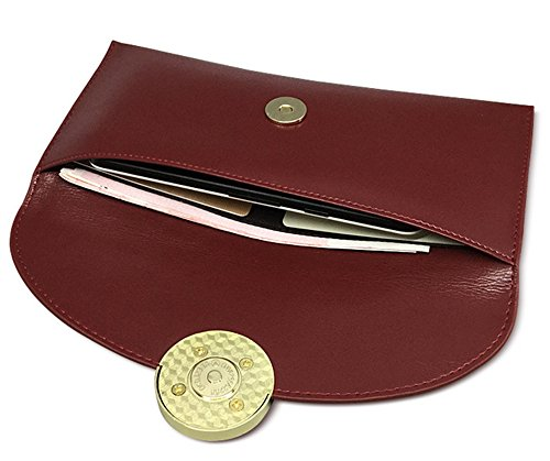 Xinmaoyuan Portafogli donna semplice olio retrò cera anello in pelle Ladies Wallet busta lunga Wallet borsa a mano,Nero Vino rosso