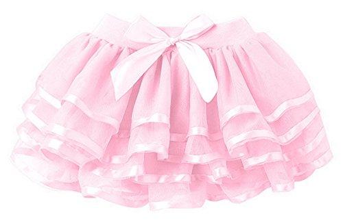 HAPPY CHERRY Mädchen Tüllrock einfarbig Tütü mit Schleife Prinzessin Rock Tutu Kostüm Kleinkind Ballettkleid viele-Schichten Puff Rock Tanz Kleid Ruffle Rock Asiatische Größe 100 - Rosa