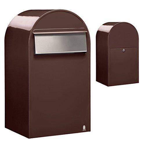 Bobi Grande B Briefkasten RAL 8017 braun, Klappe aus Edelstahl Zaunbriefkasten