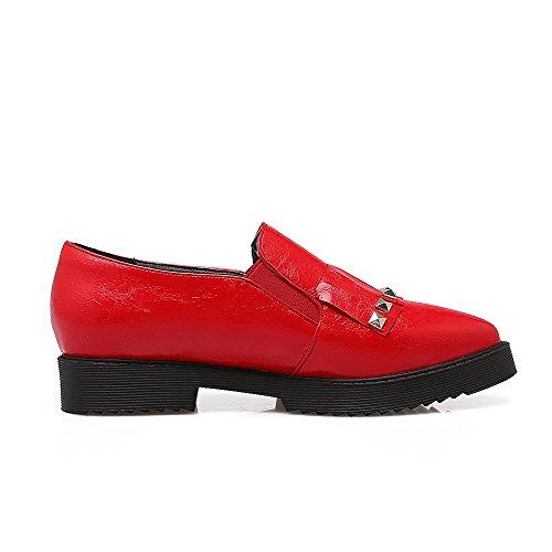 AgooLar Damen Eingelegt Weiches Material Niedriger Absatz Spitz Zehe Pumps Schuhe Rot nztHu
