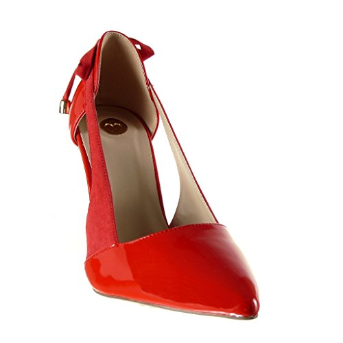 Angkorly - damen Schuhe Pumpe - Stiletto - Offen - Dekollete - String Tanga - metallisch - Knoten Stiletto high heel 10 CM Rot