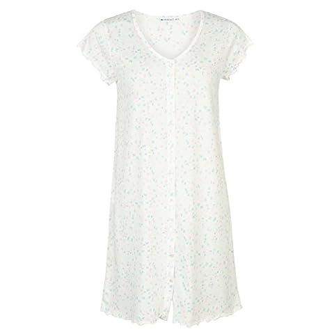 Cote De Moi Damen Nachthemd Sommer Kurzarm V Ausschnitt Knopfleiste Muster Multi 20-22