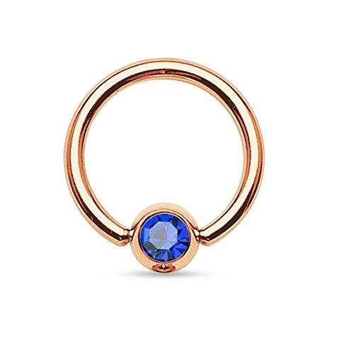 Paula & fritz® - piercing in acciaio chirurgico 316l, unisex, placcato oro rosa, con zircone - - - - - - e placcato oro, colore: blau, cod. grr03-16083_b