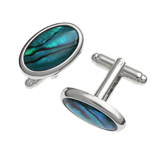 Kiara Jewellery Manschettenknöpfe, oval, mit eingelegter Paua-/Abalone-Muschel, Natürlich Blau, silberne Einfassung, kein Anlaufen, rhodiniert