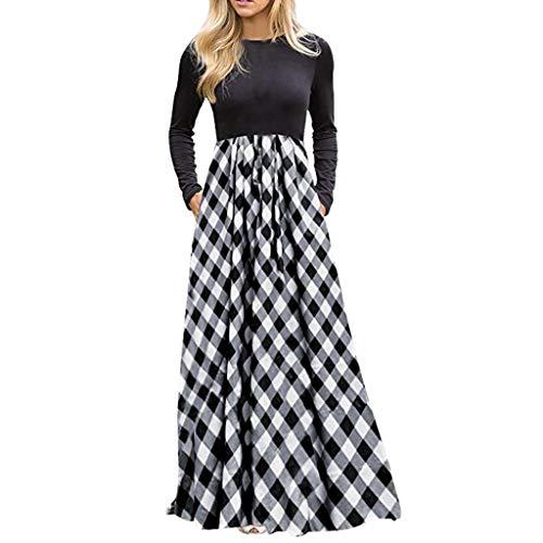 Zolimx Damen Plaid Langarm Empire-Taille Volle Länge Maxi-Kleid mit Taschen -