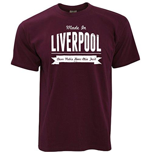 (Heimatstadt Stolz T-Shirt Made in Liverpool Banner Maroon X-Large)