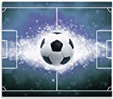 Wallario Herdabdeckplatte/Spritzschutz aus Glas, 1-teilig, 60x52cm, für Ceran- und Induktionsherde, Fußball - Spielfeld in Flammen in blau