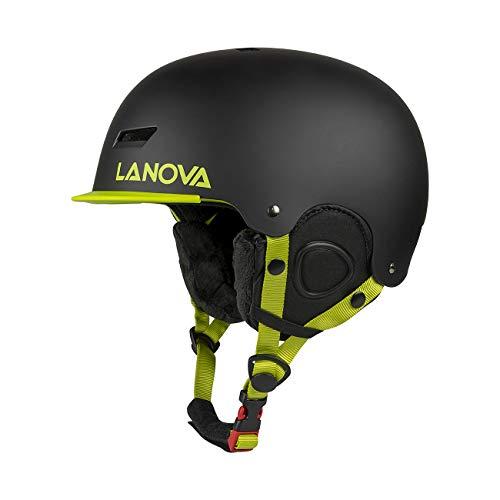 Lanovagear casco da snow snowboard junior snowboard per bambino giovanile con fodera in pile (nero, s)