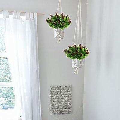 Nahuaa 4 Stück Künstliche Kiefer Pflanzen Zweige mit Künstlichen Kiefer Kegel Kunststoff Sträucher Faux Grün Büsche Bundles Draußen Tabelle Blumenarrangements Zuhause Küche Sprungfeder Deko von Nahuaa bei Du und dein Garten
