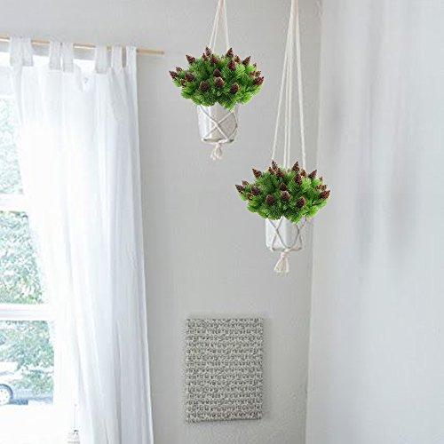 Nahuaa 4 Stück Künstliche Kiefer Pflanzen Zweige mit Künstlichen Kiefer Kegel Kunststoff Sträucher Faux Grün Büsche Bundles Draußen Tabelle Blumenarrangements Zuhause Küche