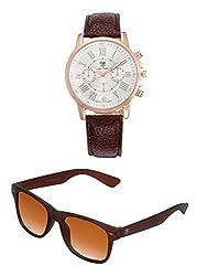 Big Tree Chronograph Look Analogue White Dial Brown Leather Belt Mens Watch & BIG Tree Cinnamon Brown Color UV Protected Wayfarer Sunglasses Goggles Combo Set
