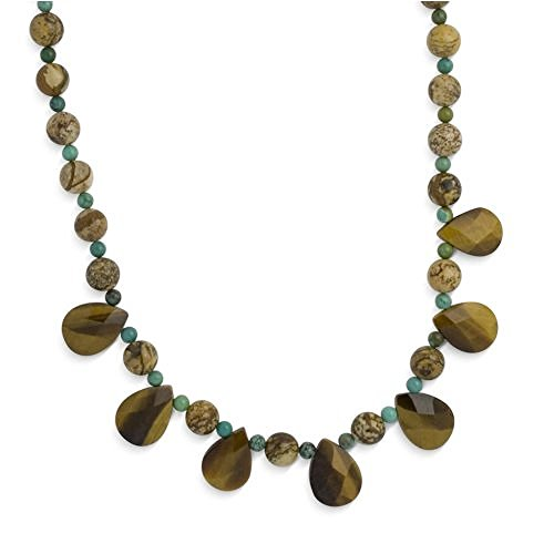 sterling-silver-green-turquoise-picture-jasper-tiger-eye-beaded-necklace