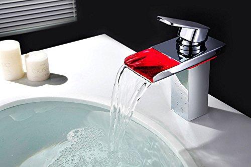 Bonade® LED Farbewechsel Wasserhahn Wasserfall Waschtischarmatur Einhebelmischer Bad Armatur für Badenzimmer Waschbecken