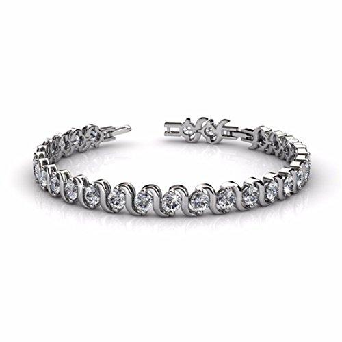 NEVI Stylish New Round Fashion Swarovski Crystals Rhodium Plated Brass Single Strand Bracelet Bangle Jewellery for Women And Girls (Silver)