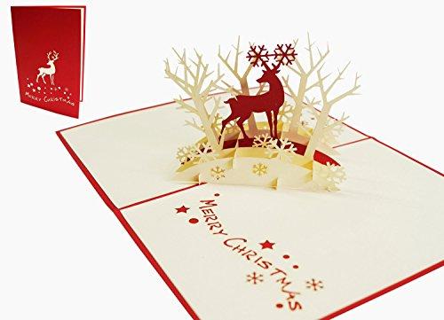 Lin–cartolina pop-up 3d per gli auguri di natale biglietti di natale abete bosco renna (de # 418)