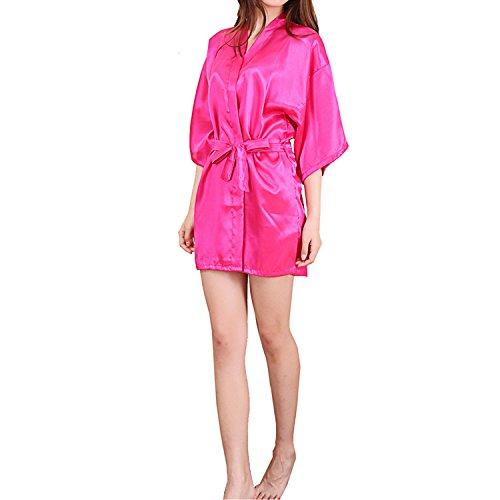 UTOVME Damen Seide Kimono Lange Robe Nacht Kleid für Spa Party ...