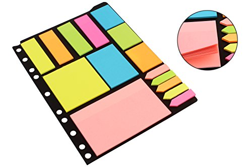 PIGLOO-Sticky-Notes-Page-Markers-Binder-Pack-250-Assorted-Size-Notes-125-Page-Markers-25-x-19-cm-Assorted-Colors