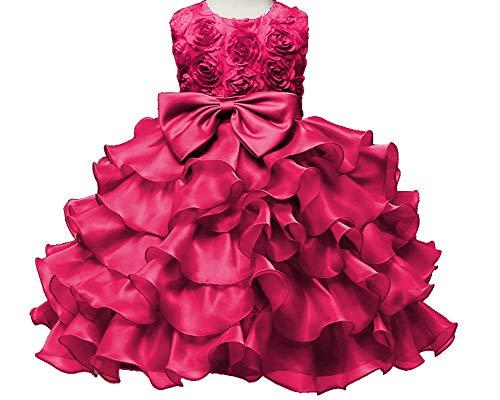 Mädchen Belle Kostüm Prinzessin Bogen Drop Shoulder Rose Kleid Rose 130