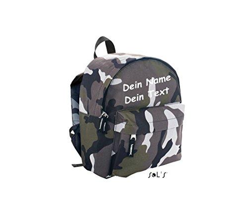 Shirtstown Kinderrucksack individuell mit deinem Wunschtext versehen camo