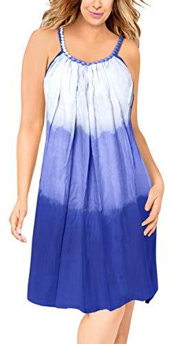 LA LEELA Hand tie dye weich leichte Viskose vertuschen lässig Frauen blau lose Maxi Bikini Abend ärmellos Riemchen kurzes Kleid Nachthemd - Mutter Nachthemd