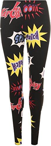 WearAll - Damen Druck hipster Leggings lange volle Knöchel Stretch Hosen - in schwarz - Größe 36-42