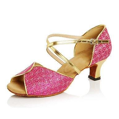 Scarpe da ballo-Non personalizzabile-Da donna-Balli latino-americani / Jazz / Sneakers da danza moderna / Moderno-Quadrato-Finta pelle- Light Blue