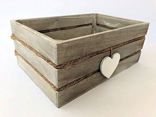 Antiquitäten Shaker (Vintage Holz Gartenkiste Herz Trug Planter Kräuter Glühbirnen Pflanzen Aufbewahrungsbox)