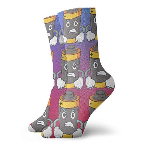 Xdevrbk Short Socks Crew Sock Angry Battery Mascot Cartoon Style Printed Sport Athletic Winter Warm Socks 30cm Long Socks