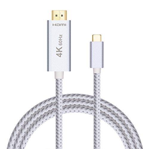 Cable USB C a HDMI 4K 60Hz (Thunderbolt 3 Compatible), 2m USB 3.1 Tipo-C a HDMI 2.0 Adaptador Trenzado de Nylon Cable, Aluminio Shell y Chapado en Oro Conversor Conectores Convertidor Cable para MacBook Pro, HP Spectre X360, Google Chrome Pixel 2, Samsung Galaxy Note8/S8/S8 Plus, HUAWEI Mate10 Pro (Plug & Play)