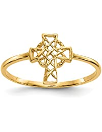 ICE CARATS 14k Yellow Gold Irish Claddagh Celtic Knot Cross Religious Band Ring Fine Jewelry Gift Set For Women Heart