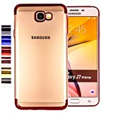COOVY® Cover für Samsung Galaxy J7 Prime SM-G610Y /Duos SM-G610F / DS / On7 leichtes, ultradünnes TPU Silikon Bumper Case, transparent, Chrom Rahmen | Farbe rot