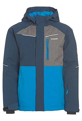 Rossi Jungen Winterjacke - Ski, 8.000 mm Wassersäule Winter-Jacke Kinder Sport Outdoor Ski Snowboard blau,122/28