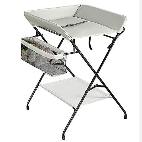 Tables à langer 2 en 1 pour Bébé Station De Rangement pour Unité De Baignoire pour Bébé avec Septum en Cuir PU - Gris