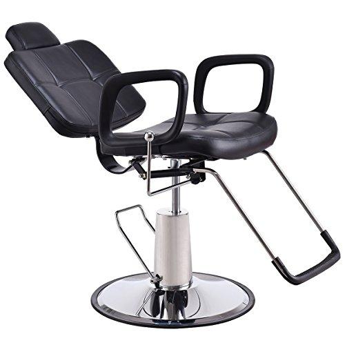 Goplus poltrona da parrucchiere con poggiapiedi sedia da barbiere sedia da parrucchiere regolabile in altezza (98-110) x90x60cm