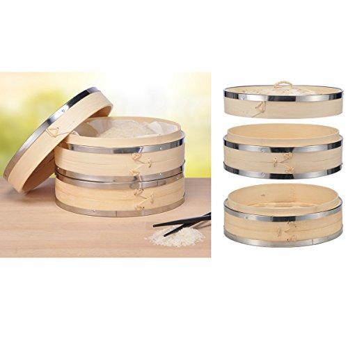 Bambusdämpfer, 2-lagig mit Deckel, einfache Zubereitung, Ø 20 cm, H 15 cm - Bambus Dämpfer Dampfgarer Reis Gemüse Dämpfaufsatz Dampfkorb Bamboo Steamer