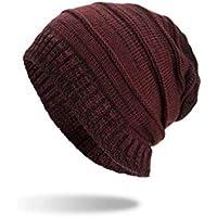 NOHOPE otoño Invierno cálido Hombres Mujeres Sombrero de Punto Gorro de Lana  de Felpa  dbd9a62e573