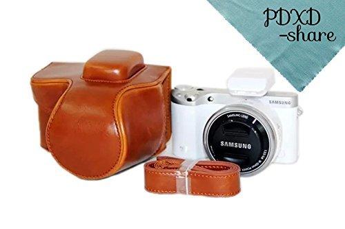 PDXD-share Kameratasche Leder Tasche für Samsung NX500 Digitalkamera (Braun)