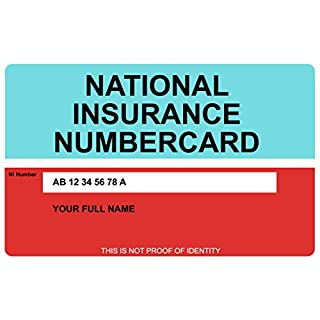 Replica National Insurance Number Card - Printed ON Hard Plastic - Customisable