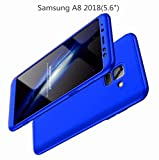 AILZH Samsung A8 2018 Hülle 360°Schutzhülle Shell Anti-Schock HandyHülle Shockproof Ganzkörper Schützend Anti-Kratz Stoßfänger 360 Grad Cover Case Matte Schutzkasten 3 in 1(5.6