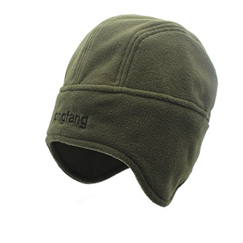 Outfly Unisex Polar Fleece Skullies Gorra Beanie Hats con Earflaps Cotton Liner, Talla única, Verde militar