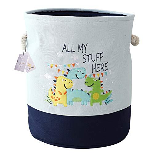 Znvmi Wäschekörbe Kinder Spielzeug Organizer Faltbare Groß Lagerung Aufbewahrungskorb Baby Wäschesammler Wäschesack - Dinosaurier/Blau