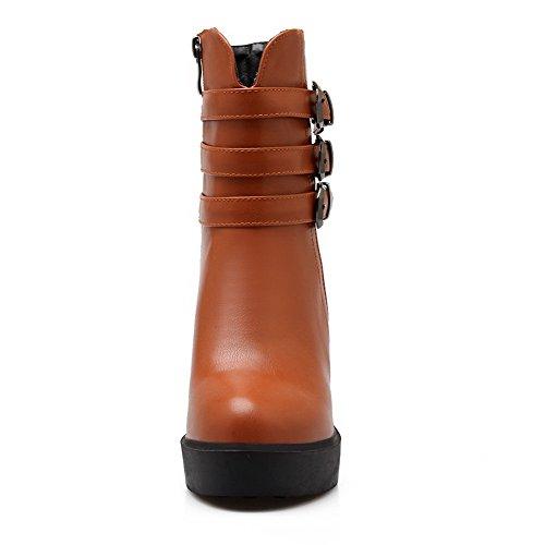 AllhqFashion Damen Hoher Absatz Rein Rund Zehe Blend-Materialien Reißverschluss Stiefel Braun
