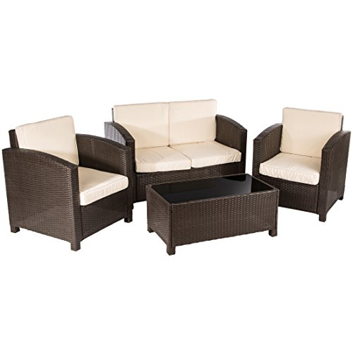 ultranatura poly rattan lounge sitzgruppe palma serie 4 teilig tisch couch 2 sessel. Black Bedroom Furniture Sets. Home Design Ideas
