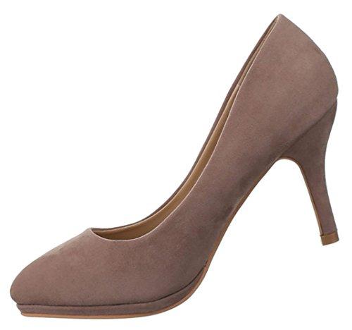 Damen Pumps Schuhe klassische Abendschuhe Business Schwarz Beige Braun 36 37 38 39 40 41 Hellbraun