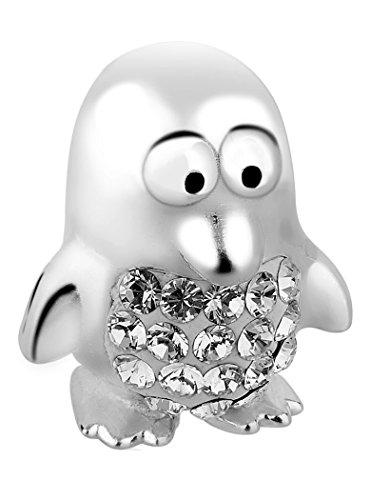 (Nenalina Pinguin Silber Bead mit Swarovski Crystal in 925 Sterling Silber, auch kompatibel für Pandora Beads Armbänder, 717514-001)