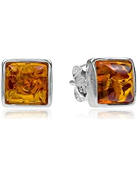 Amber Sterling Silver Perfect Square Stud Earrings