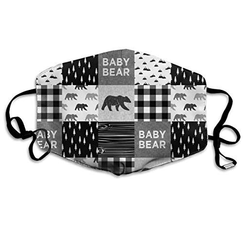 Baby Bear Patchwork Quilt Top Monochrome Anti Dust Mask Anti Pollution Washable Reusable Mouth Masks -