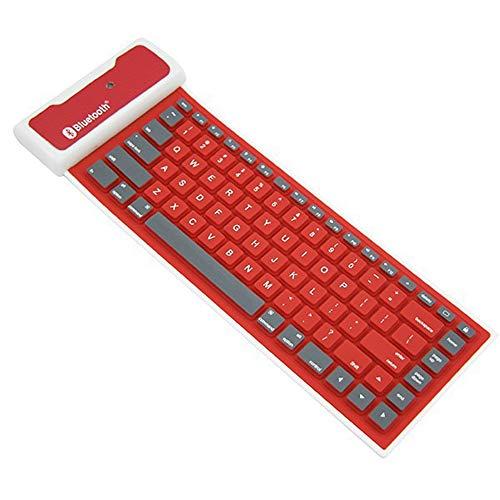 Mini Bewegliche wasserdichte Faltbare Drahtlose Bluetooth-Silikon-Tastatur Für Tablette Oder Andere Handys DREI-System,Rot