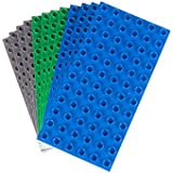 Premium Big Briks Blue, Green, And Gray Baseplate Set - 12 Pack - DUPLO Compatible - Large Pegs