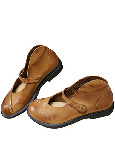 Youlee Frauen Round Toe Leder flache Schuhe Gelb